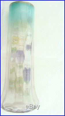 Vase En Verre Emaille Legras Decor Pensees (1)