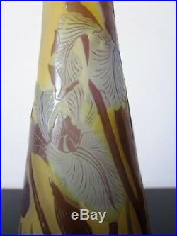 Vase GALLE Iris verre multicouche dégagé acide. Art nouveau. Pate de verre
