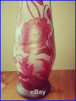 Vase Gallé, décor coquelicots rouges