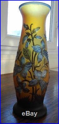 Vase Gallé décor floral, H 27,5 cm