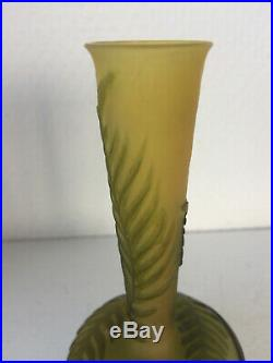Vase Gallé vert déco aux fougères signature à l'étoile art nouveau authentique
