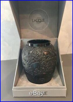 Vase LALIQUE noir modèle les biches