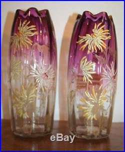 Vase LEGRAS Art Nouveau verre émaillé TOKYOS
