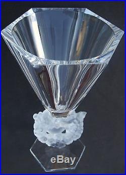 Vase Lalique France Les mésanges , H = 31 x 19,5cm