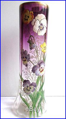 Vase Lamartine Art Nouveau violine et Or, émaillé LEGRAS 7 Pensées + graminées
