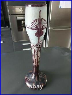 Vase Le Verre Fancais En Pate De Verre Decor Chardon