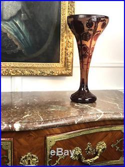 Vase Le Verre Français (epoque Art Deco) A Decor De Bogue De Marrons De 42 CM