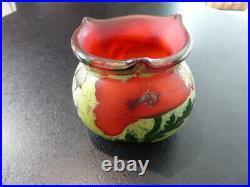 Vase Legras Indiana gravé à l'acide fleurs de pavots