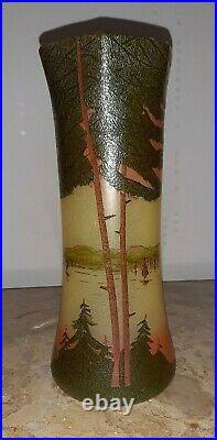 Vase Legras signé Déposé en verre peint a la main vers 1900, hauteur 28,5 cm