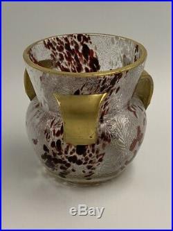 Vase Léveillé & Rousseau verre moucheté acide & or XIXe Antique Art Nouveau vase