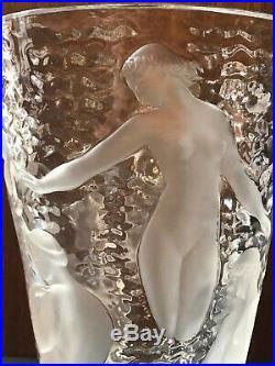 Vase ONDINES Art Déco Cristal signé LALIQUE France hauteur 24 cm