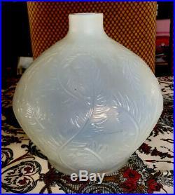 Vase PLUMES de René Lalique 1920 verre Opalescent 21x22cm 3 Signatures