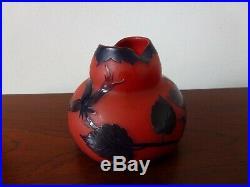 Vase Richard Loetz Pate De Verre Rubis Era Daum Gallé Old Cameo Art Glass Signed