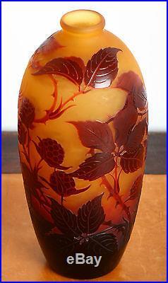 Vase Signé D'Argental Nancy Paul Nicolas Comme Gallé Daum Circa 1920 Cameo Glass