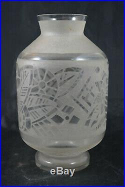 Vase Signe Lorrain Art Deco Degage A L'acide No Daum