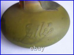 Vase Soliflore en Verre multicouche, Décor végétal dégagé à l'Acide, signé Gallé