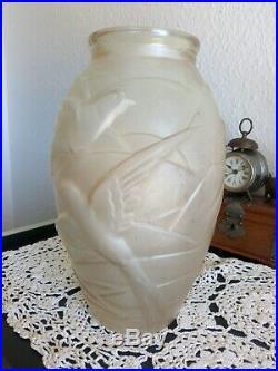 Vase Verre Art Déco 1925 Souchon-Neuvesel Cherbourg Moulé Pressé Molded Glass