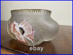 Vase Verre Emaille Montjoye Legras Accidenté