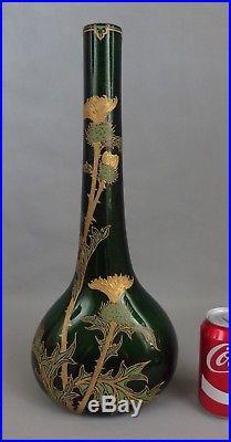 Vase à long col en verre pailleté émaillé or Legras Montjoye 1900 chardons