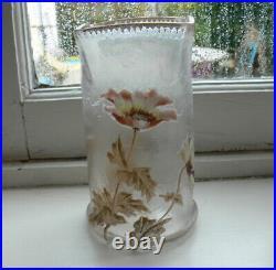 Vase de Legras signé MontJoie émaillé tout autour de fleurs Hauteur 17,5 cm