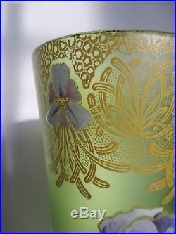 Vase émaillé LEGRAS Décor fleur d'iris 1900 ART NOUVEAU
