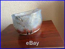 Vase en Pate de verre émaillée, Legras, décor Hivernale, Neige