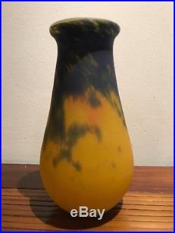 Vase en pate de verre nuagé Muller Frères Lunéville Ecole de Nancy Gallé Daum