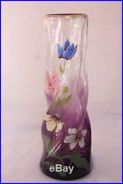 Vase en verre émaillé Legras vers 1900