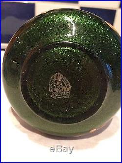 Vase en verre émaillé signé Montjoye art nouveau au gui