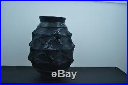 Vase en verre moulé pressé noir attribué a Sabino excellent état