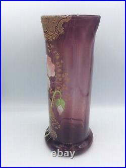 Vase en verre soufflé coloré violet émaillé décor floral de pavot de Legras