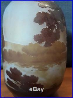 Vase gourde Gallé décor lacustre