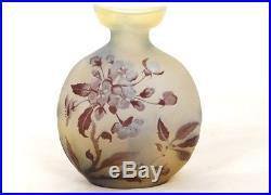 Vase gourde pâte de verre Emile Gallé fleurs feuillage Art Nouveau XIXème