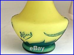 Vase jaune Richard BURGSTHAL verre gravé en camée à lacide (multicouche)