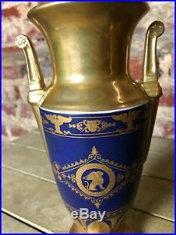 Vase (la paire) de style Empire de couleur or et bleu Haut 22 cm