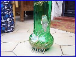 Vase legras representant des oiseaux