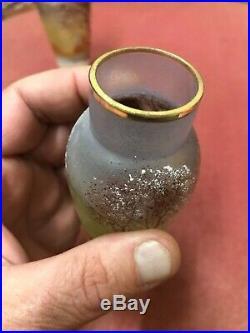 Vase miniature émaillé décor arbres neige 1900 Daum Legras 1 dispo celui de d
