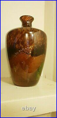 Vase pate de verre DAUM ton ambre inclusion feuille d or