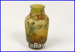 Vase pâte de verre Daum Nancy feuilles baies Art Nouveau XIXème siècle