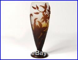 Vase pâte de verre Emile Gallé fleurs orchidées feuillage Art Nouveau XIXè