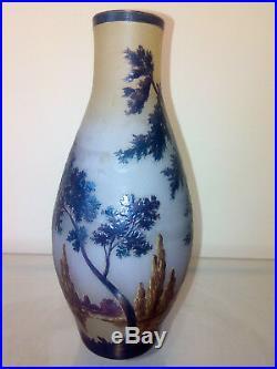 Vase pâte de verre dégagé a l'acide Thouvenin vers 1920 gallé muller