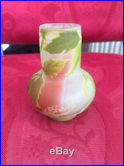 Vase pate de verre, gallé, pate de verre, vase gallé