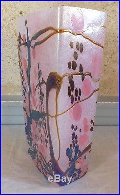 Vase pate de verre irisé signé Marie Alice Giraud