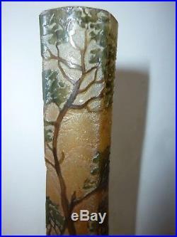 Vase signé Legras pate de verre dégagé a l'acide Daum Gallé soliflore