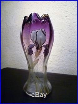Vase verre soufflé émaillé à collerette décor d'iris ART NOUVEAU Legras Montjoye