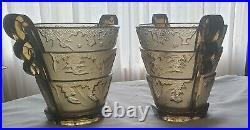 Verlys, Très jolie paire de vases en verre moulé pressé, modèle Les Algues
