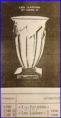 Verlys, très jolie paire de vases en verre moulé presse gris/fumé Les Lances