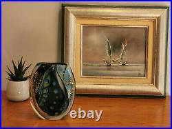 Verrerie d'Allex, Eric Laurent vase en verre bleu vintage